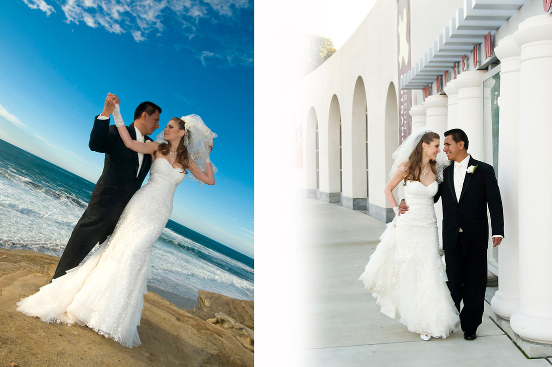 Wedding at the Cliffs and Photo Shoot at the Museum of Art in La Jolla, CA